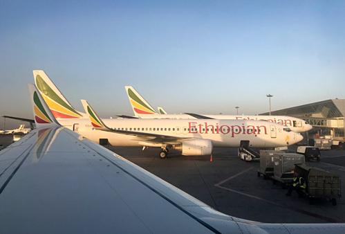 Máy bay Boeing 737 của Ethiopian Airlines tại Sân bay Quốc tế Bole. Ảnh:AP