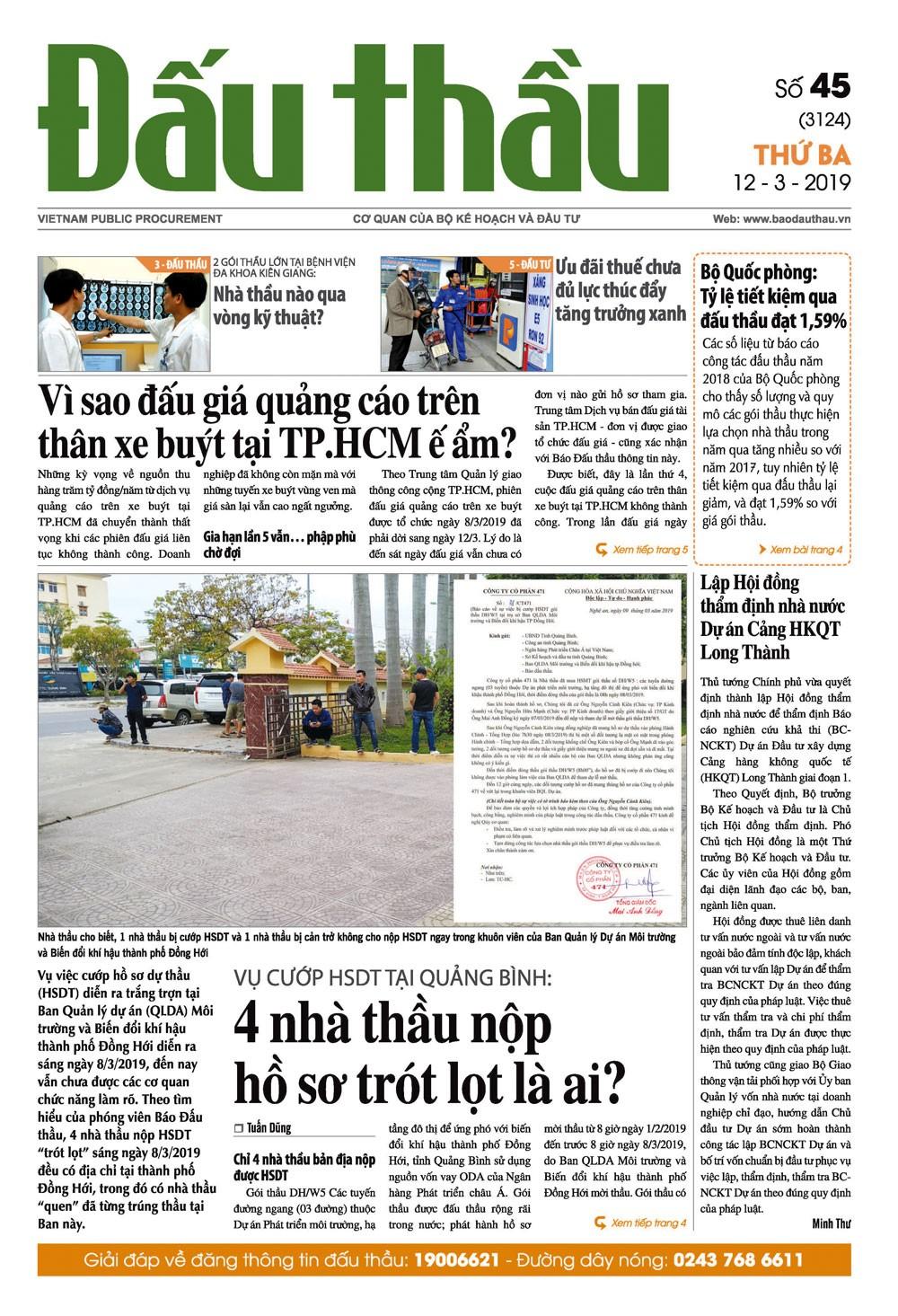 Báo Đấu thầu số 45 ra ngày 12/3/2019