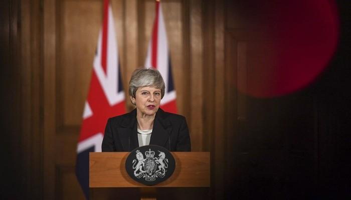 Thủ tướng Anh Theresa May trong bài phát biểu ngày 20/3 - Ảnh: Bloomberg.