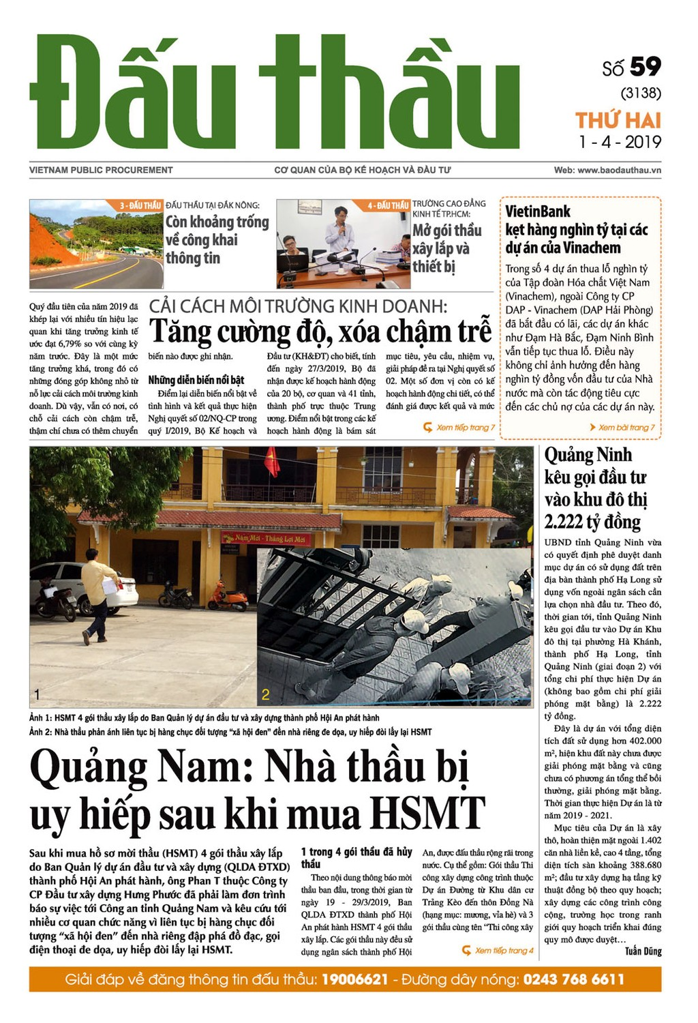 Báo Đấu thầu số 59 ra ngày 1/4/2019