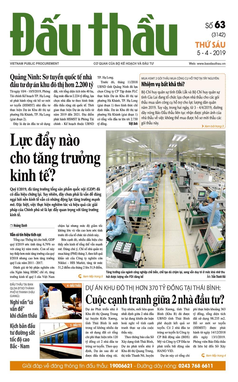 Báo Đấu thầu số 63 ra ngày 5/4/2019