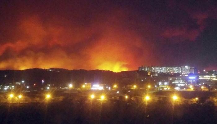 Trận cháy rừng đang xảy ra ở Hàn Quốc - Ảnh: Yonhap/Bloomberg.