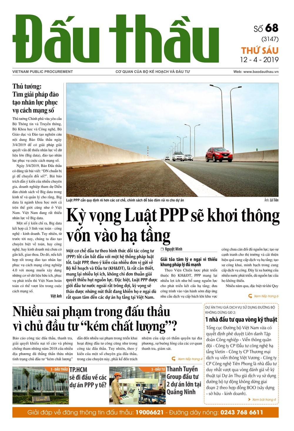 Báo Đấu thầu số 68 ra ngày 12/4/2019