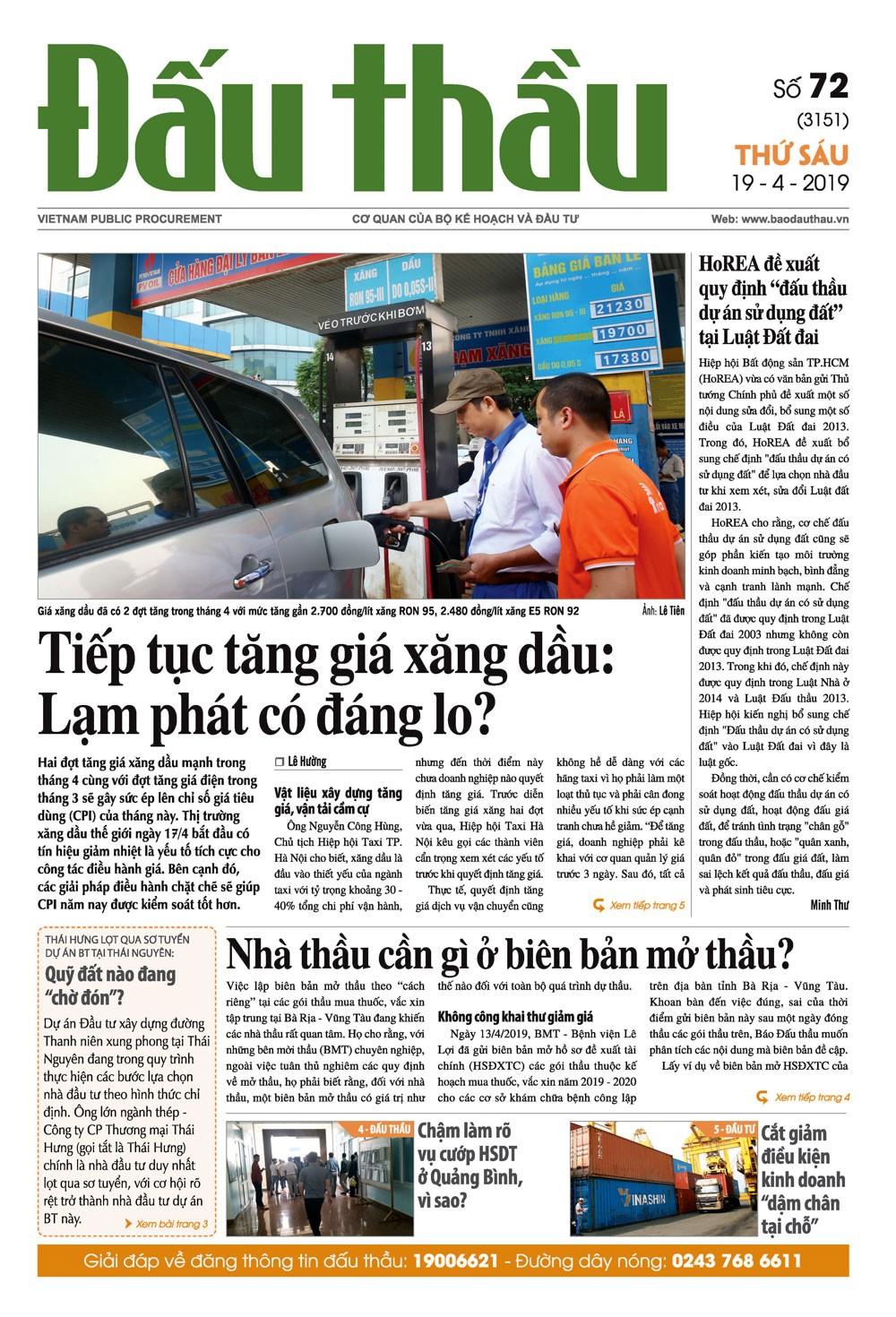 Báo Đấu thầu số 72 ra ngày 19/4/2019