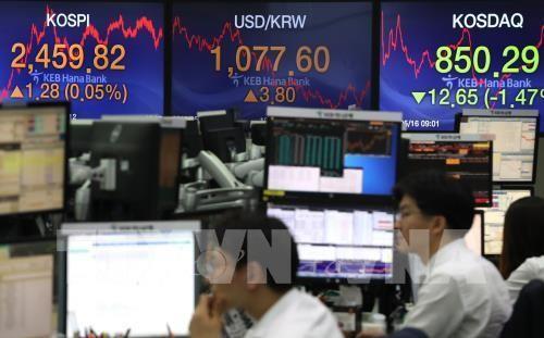 Chứng khoán châu Á phần lớn tăng điểm. Ảnh minh họa: Yonhap/TTXVN