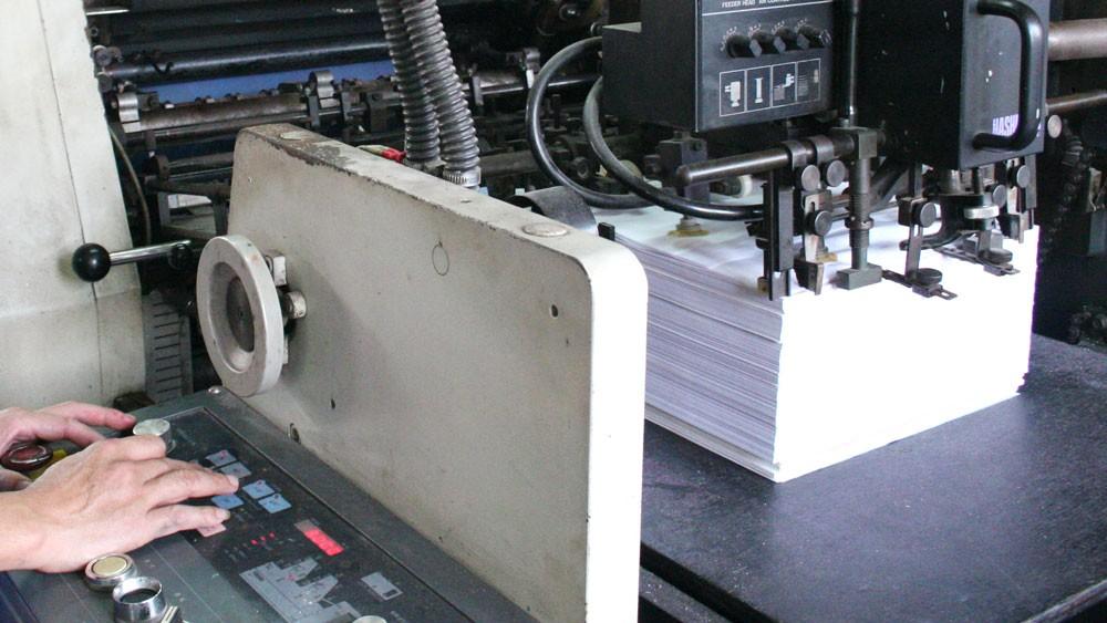 Gói thầu In ấn giấy tờ sổ sách chuyên môn do Bệnh viện Hữu nghị Việt Đức làm bên mời thầu, được đấu thầu qua mạng. Ảnh: Tường Lâm