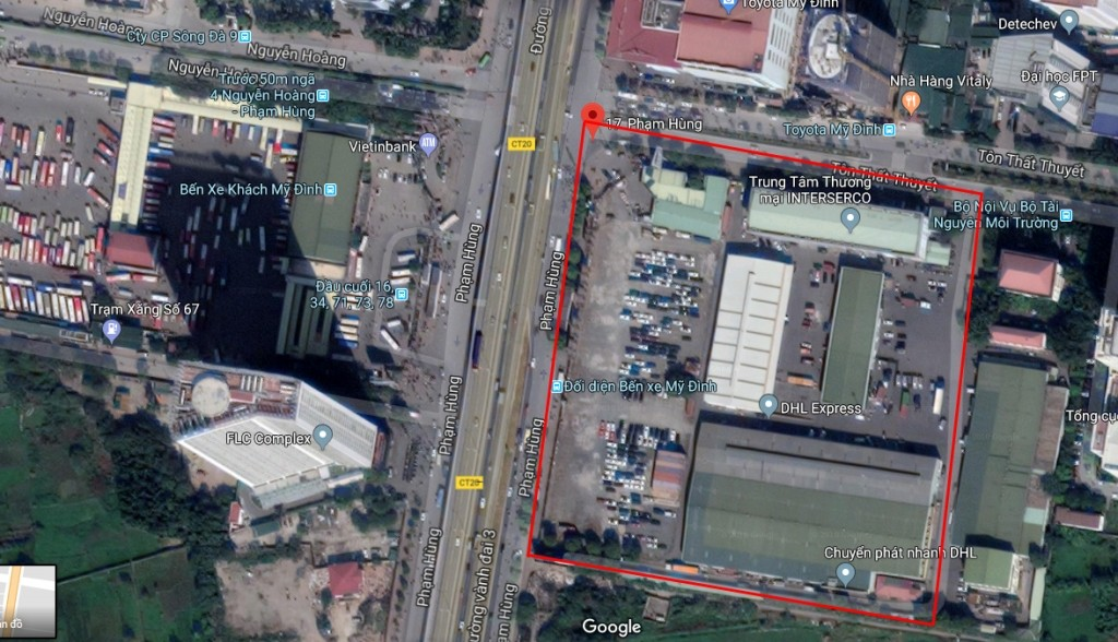 Lô đất tại địa chỉ 17 Phạm Hùng của Interserco nằm trong khu vực đang dần trở thành trung tâm TP. Hà Nội. Ảnh: Internet