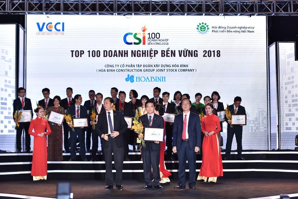 Hòa Bình nhận giải thưởng Doanh nghiệp bền vững năm 2018