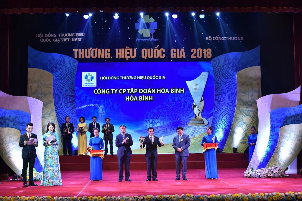 Tập đoàn Xây dựng Hòa Bình vinh dự được trao tặng biểu trưng Thương hiệu quốc gia lần thứ 6 liên tiếp