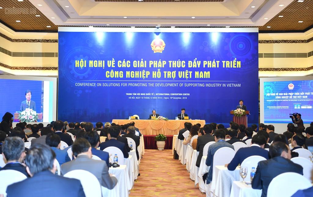 Hội nghị về các giải pháp thúc đẩy phát triển công nghiệp hỗ trợ Việt Nam diễn ra ngày 19/12/2018 (Ảnh: CP)