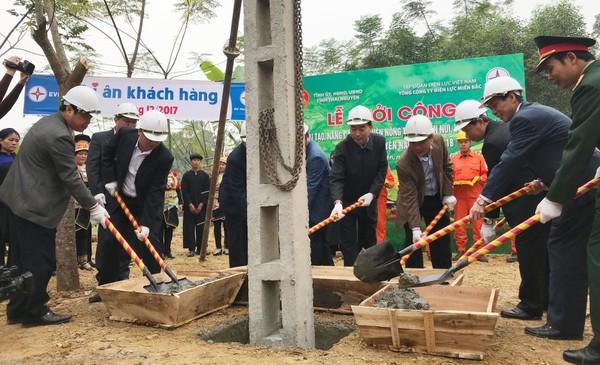 Lễ khởi công dự án đầu tư cải tạo, nâng cấp lưới điện nông thôn, miền núi, vùng sâu, vùng xa tỉnh Thái Nguyên năm 2017-2018. Ảnh: Hải Đăng