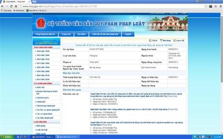Thông tin về tình trạng hiệu lực của Thông tư số 01/2012/TT-BXD trên Cổng thông tin điện tử của Bộ Tư pháp - ảnh chụp màn hình máy tính lúc 8h30 ngày 23/10/2015