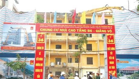 Tổng công ty 36 tiếp tục xây Chung cư B6 Giảng Võ (Hà Nội)