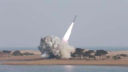 Một vụ phóng tên lửa của Triều Tiên. Ảnh:BBC