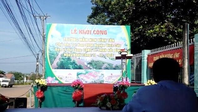 Lễ khởi công công trình Trường mầm non Vĩnh Tân đã diễn ra 9h sáng ngày 11/11/2016