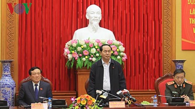 Chủ tịch nước Trần Đại Quang phát biểu tại buổi làm việc. Ảnh: VOV