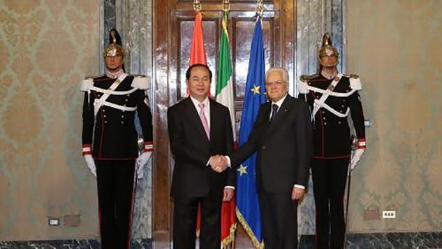 Chủ tịch nước Trần Đại Quang và Tổng thống Italy Sergio Mattarella.