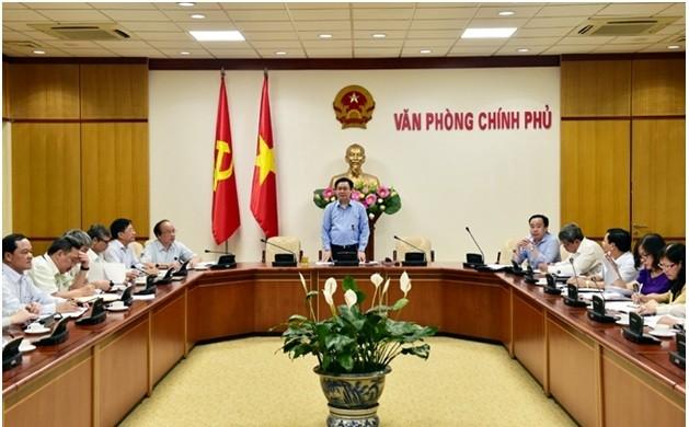 Phó Thủ tướng Vương Đình Huệ chủ trì buổi làm việc - Ảnh: VGP