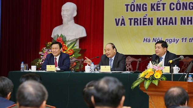 Phát biểu tại Hội nghị, Thủ tướng Chính phủ Nguyễn Xuân Phúc đánh giá cao những đóng góp tích cực của Bộ KH&ĐT trong vai trò là cơ quan tham mưu tổng hợp về chiến lược, kế hoạch phát triển kinh tế - xã hội của cả nước. Ảnh: Lê Tiên