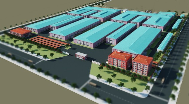 Phối cảnh dự án nhà máy Paihong Việt Nam do Coteccons thiết kế và thi công.
