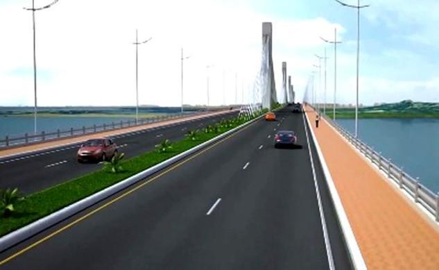 Phác thảo cầu Cửa Đại vượt sông Trà Khúc.