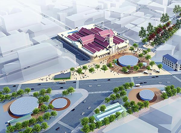 Phối cảnh vòng xoay Quách Thị Trang trở thành quảng trường trong tương lai.