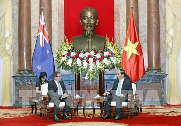 Chủ tịch nước Trần Đại Quang tiếp Bộ trưởng Ngoại giao New Zealand. Ảnh: TTXVN