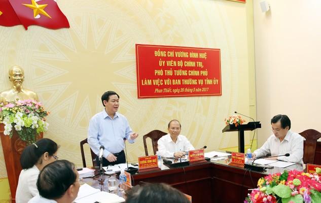 Ủy viên Bộ Chính trị, Phó Thủ tướng Chính phủ Vương Đình Huệ, Trưởng đoàn Kiểm tra số 471 của Bộ Chính trị đã dự Hội nghị công bố Quyết định kiểm tra công tác cán bộ tại tỉnh ủy Bình Thuận.