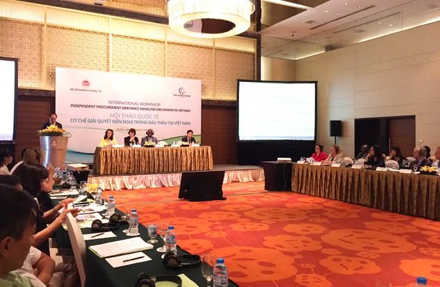 Quang cảnh Hội thảo quốc tế Cơ chế giải quyết kiến nghị trong đấu thầu tại Việt Nam. Ảnh: Việt Anh
