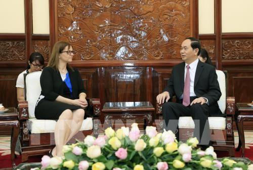 Chủ tịch nước Trần Đại Quang tiếp bà Meirav Eilon Shahar, Đại sứ đặc mệnh toàn quyền Nhà nước Israel tại Việt Nam đến chào từ biệt, kết thúc nhiệm kỳ công tác tại Việt Nam. Ảnh: TTXVN