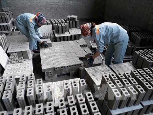 Sản xuất gạch không nung tại Công ty Cổ phần Hồng Hà, phường Xuất Hóa, thành phố Bắc Kạn. Ảnh: TTXVN