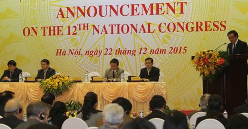 Ban đối ngoại Trung ương thông báo về đại hội 12 cho các đoàn ngoại giao. Ảnh:V.K