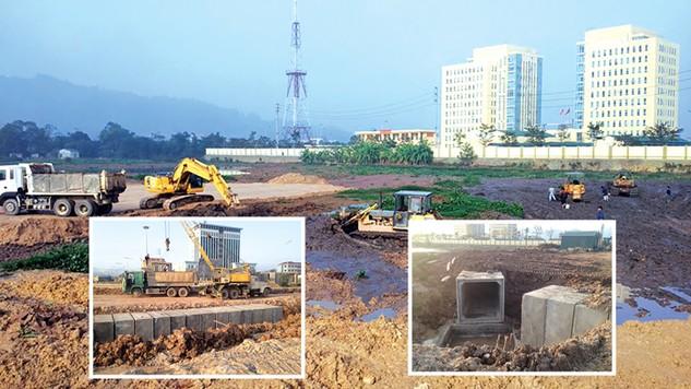 Cạnh gói thầu số 1 đang thi công (2 ảnh nhỏ) thì công trình hạ tầng kỹ thuật, Trung tâm Đa chức năng Quỳnh Lâm, TP. Hòa Bình (ảnh to) cũng đang được triển khai. Ảnh: T.Kha