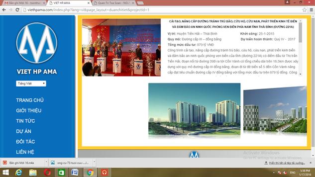Trang web Việt HP đăng tải dự án đường 221A - Ảnh: Chụp từ màn hình