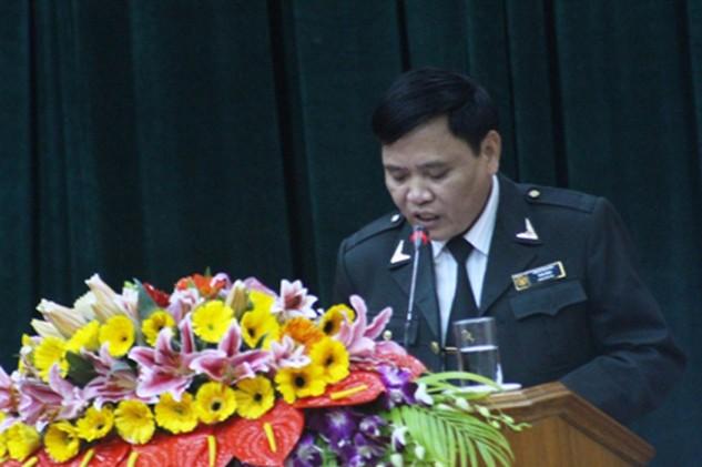 Ông Thái Sinh, Chánh Thanh tra tỉnh Hà Tĩnh phát biểu tại hội nghị. Ảnh: Trần Quốc
