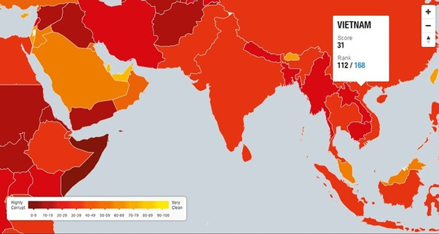 Theo Tổ chức Minh bạch quốc tế, 4 năm qua Việt Nam chưa đạt được tiến bộ nào trong phòng chống tham nhũng. Ảnh: NC st