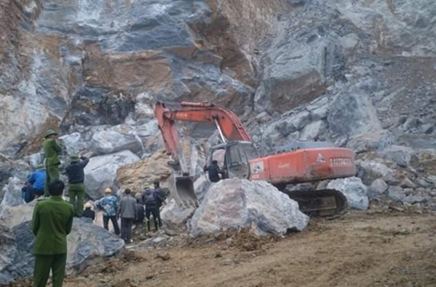 Hiện trường vụ sập mỏ đá tại xã Yên Lâm, huyện Yên Định (Thanh Hóa) làm 8 người chết xảy ra hôm 22/1 vừa qua.