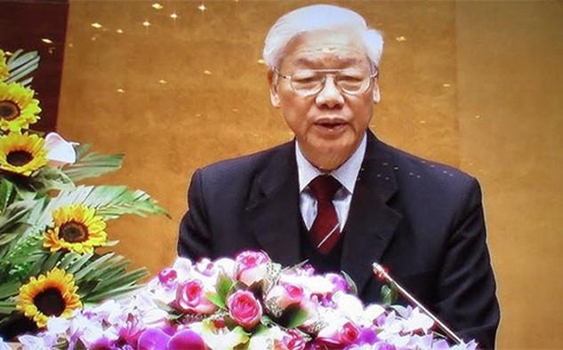 Tổng bí thư Nguyễn Phú Trọng phát biểu khai mạc toàn quốc triển khai công tác bầu cử, sáng 2/2.