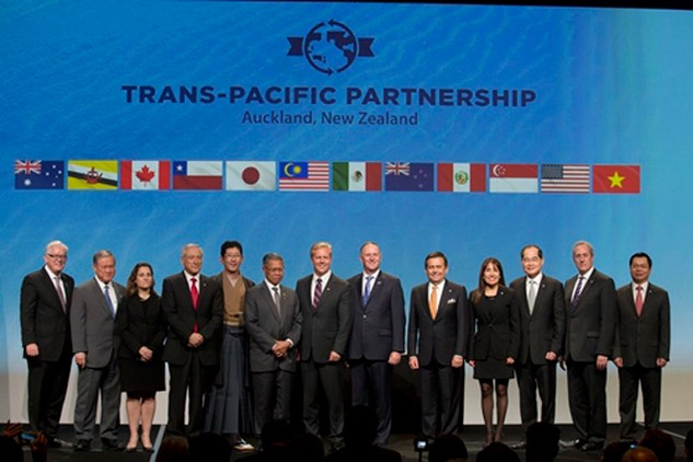 Đại diện các nước tham gia lễ ký kết TPP hôm nay. Ảnh: USTR