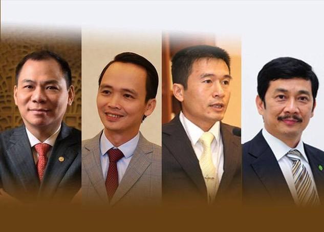 Từ trái sang: ông Phạm Nhật Vượng - Chủ tịch Vingroup, ông Trịnh Văn Quyết - Chủ tịch FLC, ông Lê Viết Lam - Chủ tịch Sun Group, ông Bùi Thành Nhơn - Chủ tịch/Tổng giám đốc Novaland