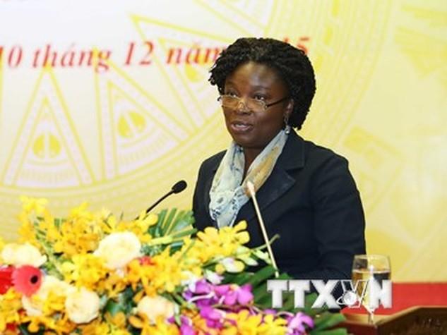 Bà Victoria Kwakwa, Giám đốc quốc gia, Ngân hàng thế giới tại Việt Nam. (Ảnh: An Đăng/TTXVN)