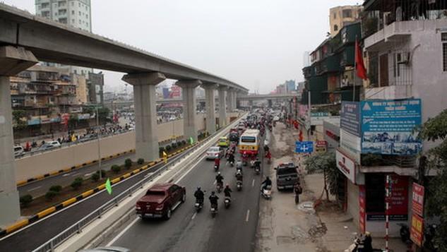 Đến thời điểm này, dự án đường sắt Cát Linh - Hà Đông đã hoàn thành lắp được 83% số lượng dầm trên toàn tuyến - Ảnh T.Phùng