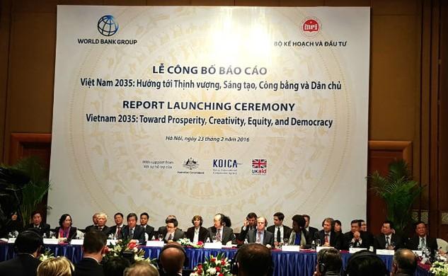 Lễ công bố Báo cáo Việt Nam 2035 sáng 23/2 tại Hà Nội