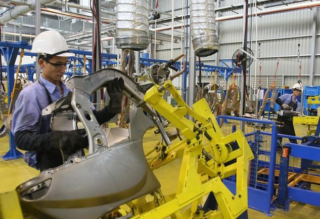 Tỷ lệ nội địa hóa trong ngành công nghiệp sản xuất, lắp ráp ô tô còn thấp, chỉ đạt khoảng 10 đến 15%. Ảnh: Huyền Trang