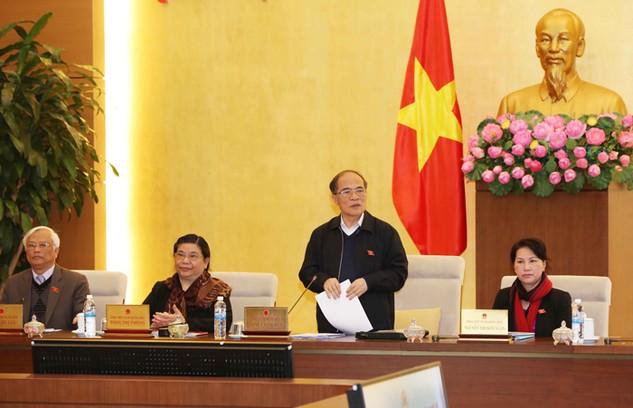 Chủ tịch Quốc hội Nguyễn Sinh Hùng phát biểu bế mạc Phiên họp thứ 45. Ảnh: Phương Hoa