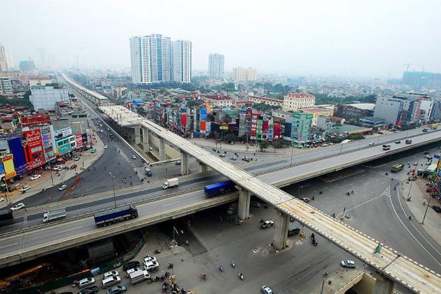 Nhà ga vành đai 3 thuộc dự án đường sắt đô thị Cát Linh - Hà Đông bị chậm tiến độ do các nhà thầu phụ bị tổng thầu nợ tiền thi công - Ảnh: Nguyễn Khánh