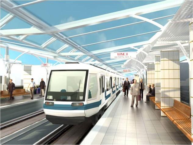Phối cảnh một nhà ga của Dự án Tuyến đường sắt đô thị, đoạn Nhổn - ga Hà Nội