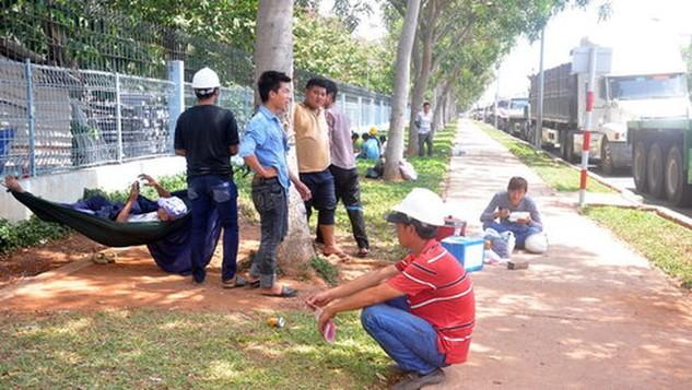 Tài xế ngồi chờ lấy phiếu để nhận thép tại huyện Tân Thành, Bà Rịa - Vũng Tàu - Ảnh: Đông Hà
