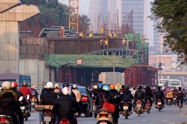 Dự án đường sắt Cát Linh - Hà Đông sẽ hoàn thành và đưa vào khai thác thương mại trong năm 2016 (ảnh: Hữu Nghị)
