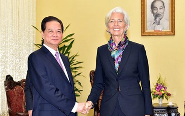 Thủ tướng tiếp Tổng Giám đốc IMF Christine Lagarde. Ảnh: VGP/Nhật Bắc